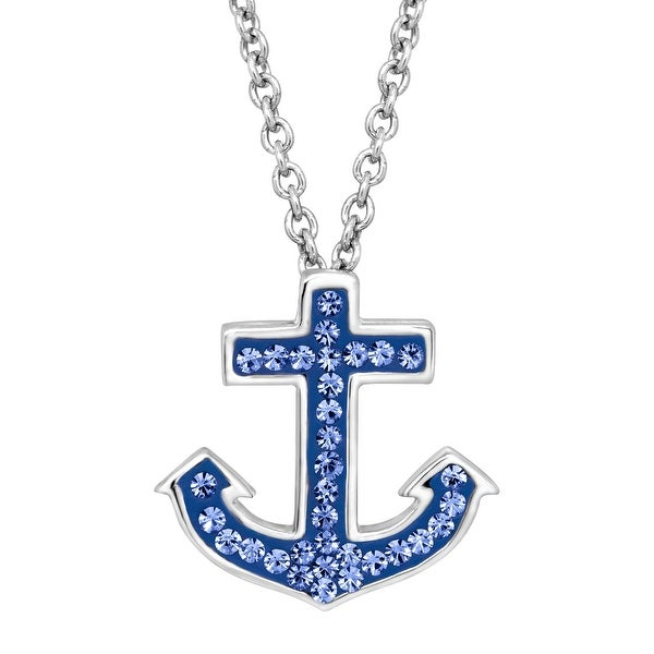 Crystaluxe Anchor Pendant with Blue Swarovski Crystals in Sterling Silver