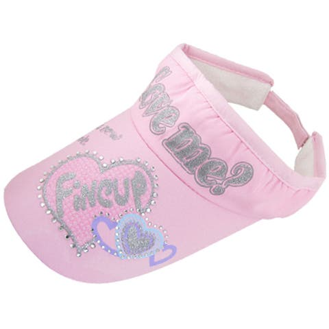 Rhinestone Letters and Hearts Pattern Visor Cap Pink S - Pinks