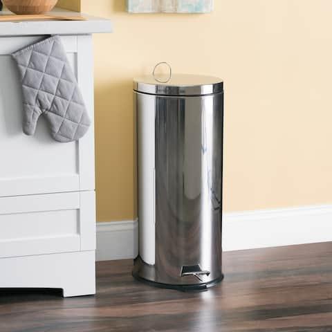 30 Liter Polished Stainless Steel Round Waste Bin, Silver