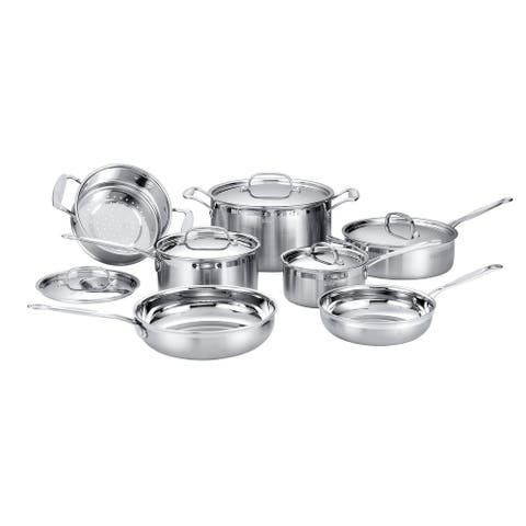 Deco Chef Stainless Steel Cookware 12 Piece Starter Set, Tri-Ply Core, Riveted Handles