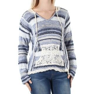 AMERICAN RAG $70 Womens 1097 Blue Striped Tie Hood Sweater S Juniors B+B