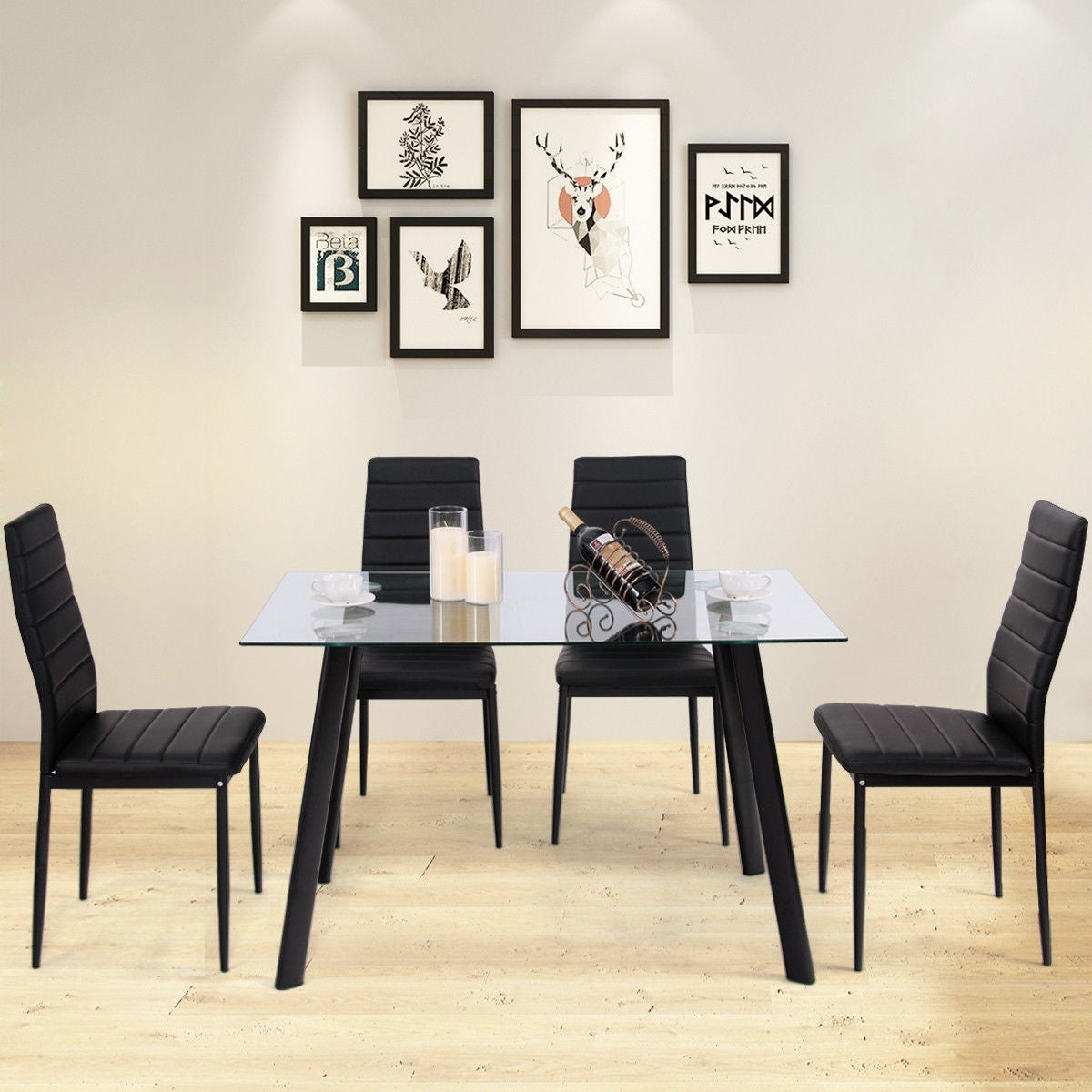 Costway Modern Gl Dining Table Set Tempered Top Pvc Leather Chair W 4 Chairs Black