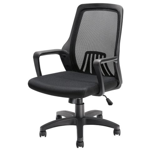 Office Chair Mesh Chair Mid-Back Mesh Home Office Swivel Chair - Black