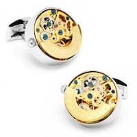 Stainless Steel Gold Plated Kinetic Watch Movement Cufflinks