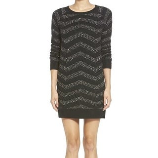 Hinge NEW Black Gray Womens Size Small S Chevron Crewneck Sweater Dress