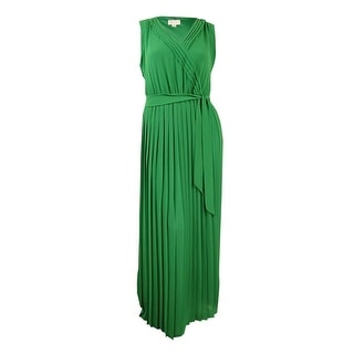Jessica Simpson Women's Belted V-Neck Pleated Chiffon Maxi Dress (14, Green)