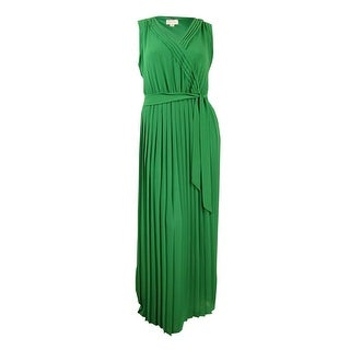 Jessica Simpson Women's Belted V-Neck Pleated Chiffon Maxi Dress (14, Green) - Green - 14
