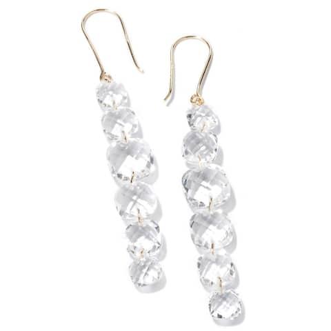 14KT Gold White Crystal Earring