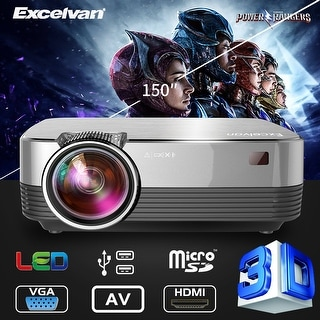 Excelvan Q6 Upgraded 4Inch Mini Portable 1800 Lumens Touch Panel LED Projector Multimedia Video Projector