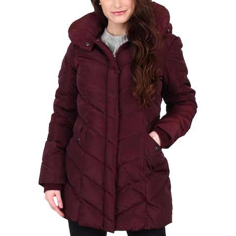 Steve Madden Women's Water Resistant Chevron Quilted Mid-Length Puffer Coat