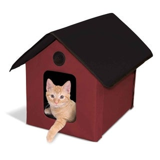 "K&H Pet Products Outdoor Heated Kitty House Barn Red / Black 22"" x 18"" x 17"""