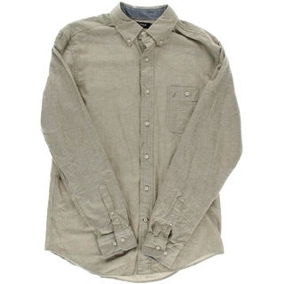 Nautica Mens Cotton Heathered Button-Down Shirt