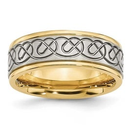 Stainless Steel 8mm Scrolled Design & Gold-plated Brushed & Polished Ring
