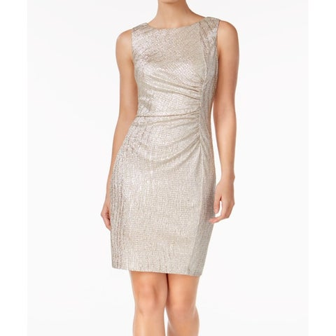 Calvin Klein Gold Womens Size 10 Metallic Ruched Sheath Dress