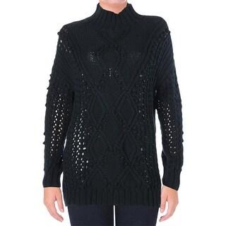 525 America Womens Knit Open Stitch Tunic Sweater