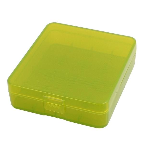 82mmx73mmx23mm Hard Plastic Battery Storage Case Holder Organizer Green