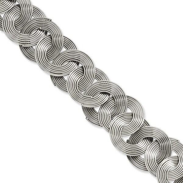 Stainless Steel Multiple Circles 8in Bracelet