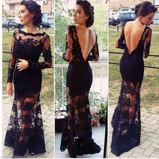 Long Black Lace Mermaid Prom Dress/ Wedding Gown Prom Ball Dresses Evening Party Formal Dress MX00016