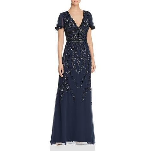 Aidan by Aidan Mattox Women's Floral Beaded Full Length Beaded Gown
