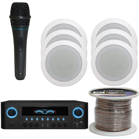 """Technical Pro 1000W Home System w/USB/SD Inputs, (Qty 6) 5.25"""" In-Wall Stereo Speakers, Microphone, 250ft speaker Wire"""