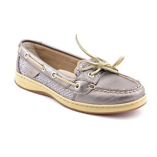 Sperry Top Sider Angelfish Women Moc Toe Leather Silver Boat Shoe