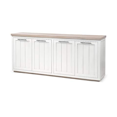 Fairview III Solid Wood Brown Top & White Frame 4 Cabinet Door Sideboard - 73.0L x 17.0W x 32.0H