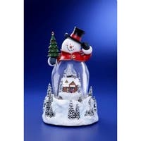 """Pack of 2 Icy Crystal Illuminated Musical Christmas Snowman Snow Globe 9"""" - WHITE"""
