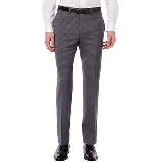 Calvin Klein Slim Fit Grey Plaid Flat Front Dress Pants 31 x 34