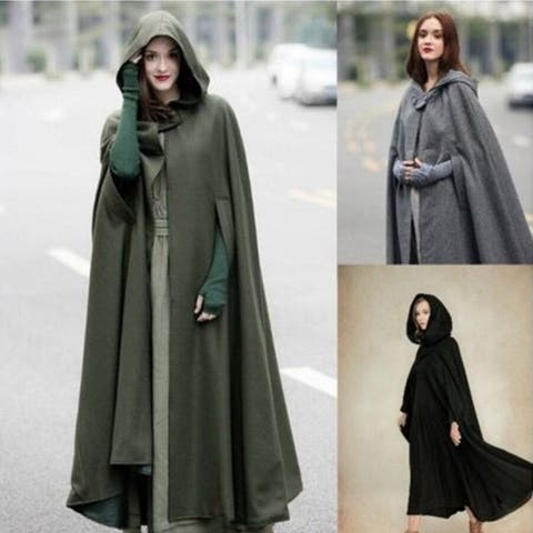 Four-Tone Hooded Lace Shawl Extended Cloak