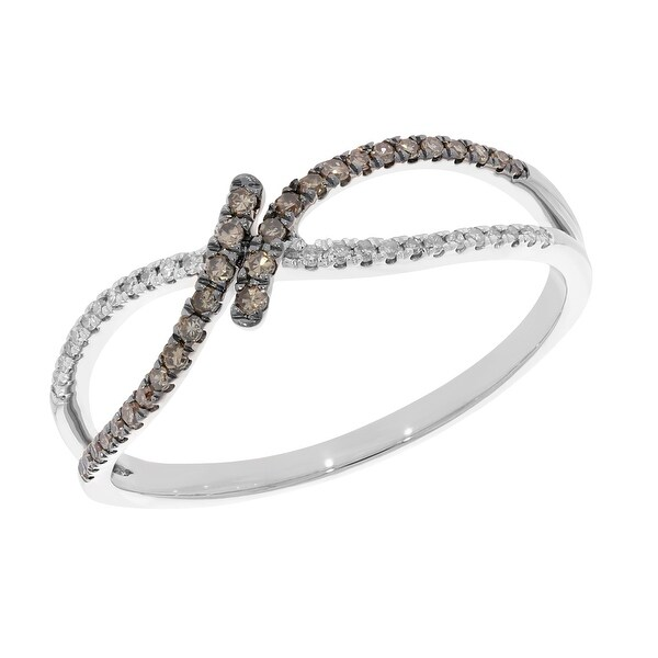 Prism Jewel 0.20Ct Natural Brown Diamond With White Diamond Twisted Ring