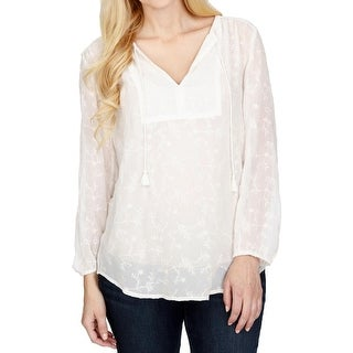 Lucky Brand Womens Peasant Top Sheer Embroidered