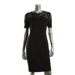 T Tahari Womens Etta Lace-Trim Short Sleeves Cocktail Dress