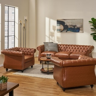 Link to Silverdale Traditional Chesterfield 3 Piece Living Room Set by Christopher Knight Home Similar Items in Living Room Furniture