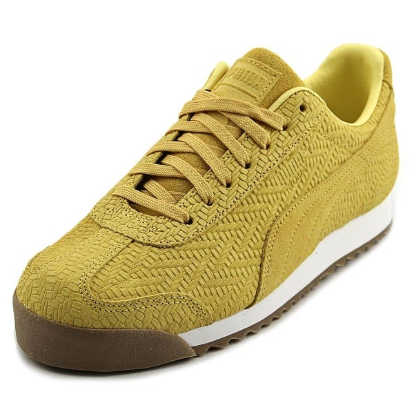 Puma Roma Emboss Zig Zag Women Round Toe Leather Yellow Sneakers