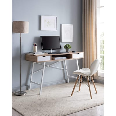 JJS Mid Century Modern Home Office Writing Desk with Drawers