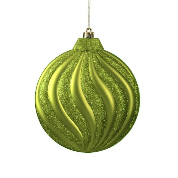 "6ct Matte Green Kiwi Glitter Swirl Shatterproof Christmas Disc Ornaments 6.25"""
