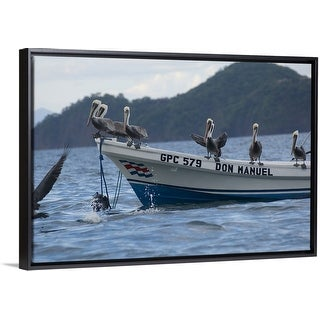 """Pelicans on a boat, Bahia Hermosa, Gulf Of Papagayo, Guanacaste, Costa Rica"" Black Float Frame Canvas Art"
