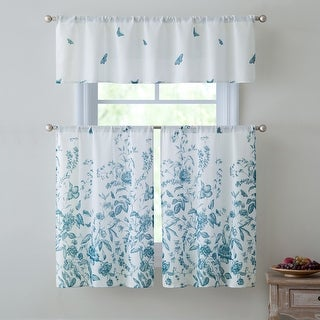 Estela 3-Piece Kitchen Curtain Set, Teal, Valance 57x15 Inches Tiers 28x36 Inches