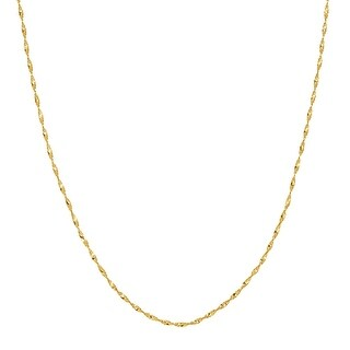 Just Gold Twisted Herringbone Chain Necklace in 10K Gold - Yellow