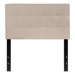 Offex Contemporary Tufted Upholstered Twin Size Panel Headboard in Beige Fabric