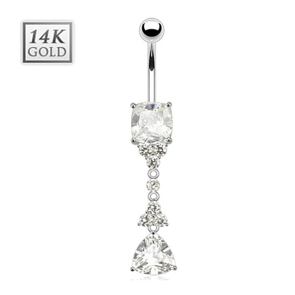 Trillion Cut CZ Dangle w/ Flowers & Pronged Princess Cut Gem 14 Karat Solid White Gold Navel Belly Button Ring