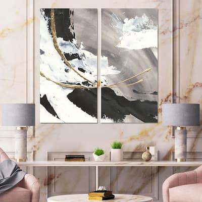 Designart 'Glam Painted Arcs II' Transitional Canvas Wall Art Print 2 Piece Set