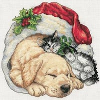 """6""""X6"""" 18 Count - Gold Petite Christmas Morning Pets Counted Cross Stitch Kit"""