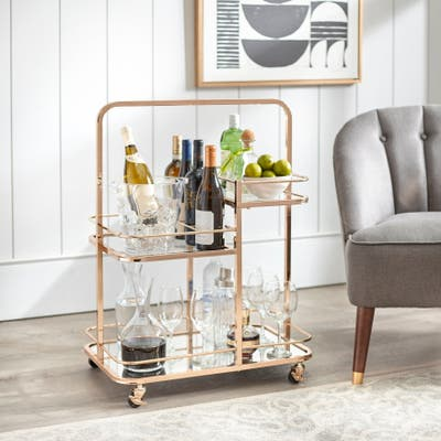 angelo:HOME Alcott 3-Tier Gold Metal Bar Cart
