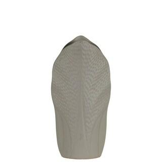 Ceramic Pyramidal Vase With Engraved Circle Design, Medium, Gray