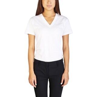 Prada Women's Cotton V-Neck T-Shirt White