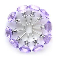 30mm Clear Crystal Glass Diamond Shape Drawer Knobs Cabinet Pull Handle New Purple 10pcs