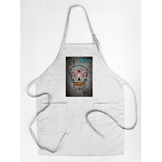 Salem, Massachusetts - Sugar Skull - Lantern Press Artwork (Cotton/Polyester Chef's Apron)