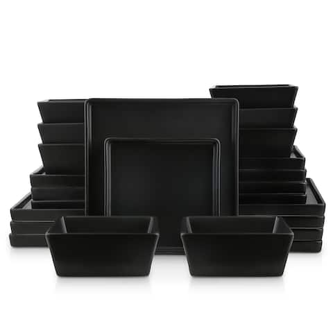 Grace Matte Stoneware Dish Set, Square Dishes