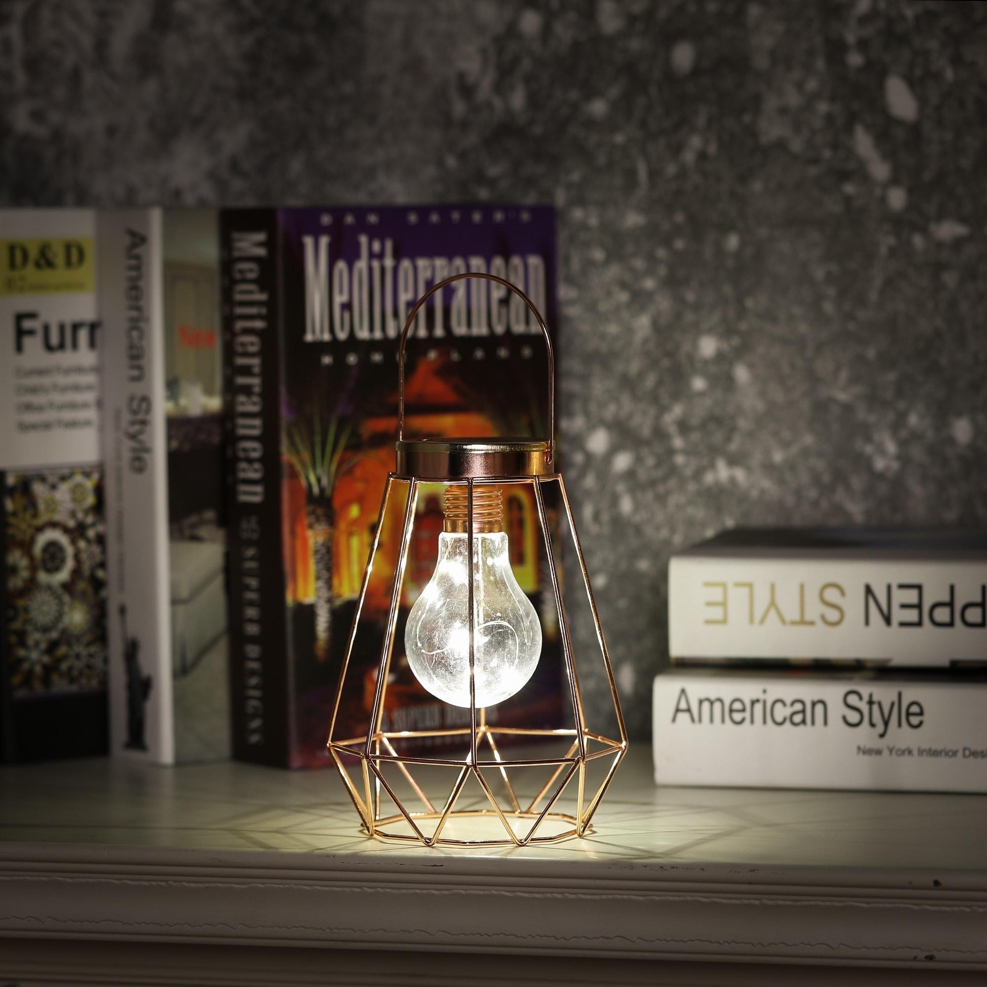 LED String Light Bulb in Cage Tabletop Lantern